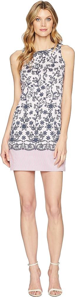 Embroidered Stripe Dress
