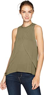 LAmade Women's Sleeveless Mock Neck Overlap Front Top