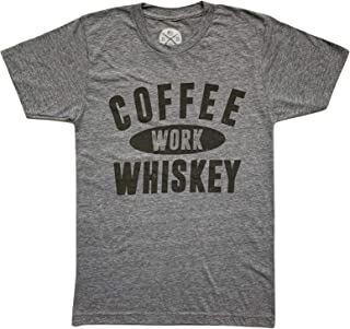 Coffee Work Whiskey Men's T-Shirt by Red White Blue Apparel
