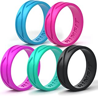 Silicone Wedding Ring for Women - 5 Rings Pack - Designed Silicon Rubber Band Thin,  Comfortable and Durable Wedding Ring Replacement. U.S. Design Patent.