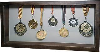 Marco de Fotos Original Tipo Caja, de Madera con Cristal y Paspartú, Cuadro Profundo para meter Objetos de colección: Objeto 3D, Pinzas con Fotos, Flores, medallas, etc. (Wengue XL, 50 x 24,6 x 5 cm)