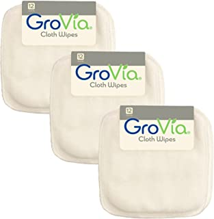 GroVia Reusable Cloth Diapering Wipes, 12 Count (3-Pack) (Color Mix 2)