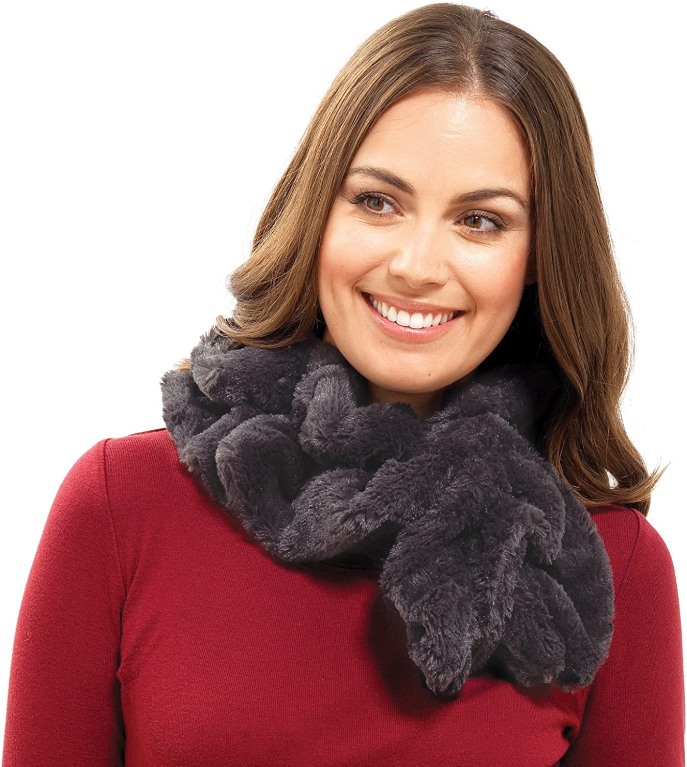 Octave Ladies Charcoal Faux Fur Fluffy Stole Scarf Snood - Perfect For Winter