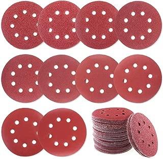Glarks 100Pcs Sanding Disc Assortment, 5 Inch 8 Hole Dustless Hook and Loop Sandpaper Sanding Disc Sandpaper Sanding Sheets Assorted 40 60 80 100 120 180 240 320 400 800 Grit for Random Orbital Sander