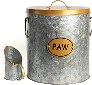 The PetSteel Gold Trim Rustic Pet Food Storage Medium Size Canister fits up to 20lbs with Matching Scoop | Innovative Design for Pet Food Storage| Good for Dog or Cat | No More Plastic Containers