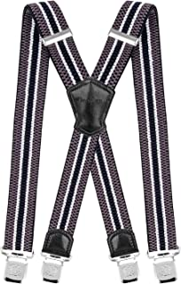 809595ab1cc Decalen Mens Suspenders Very Strong Clips Heavy Duty Braces Big and Tall X  Style