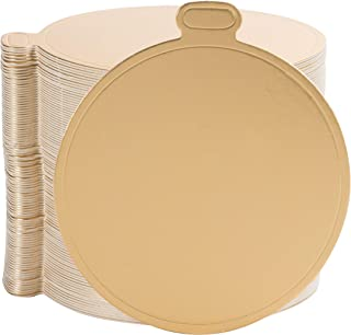 Mini Cake Boards - 100-Pack Metallic Gold 3.5-Inch Round Base for Single Serve Sweets, Plain Blank Design, Ideal for Dessert Buffet, Wedding, Parties, Catering Supplies