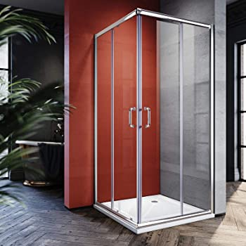Elegant Clear Glass Double Opening Sliding Shower Door