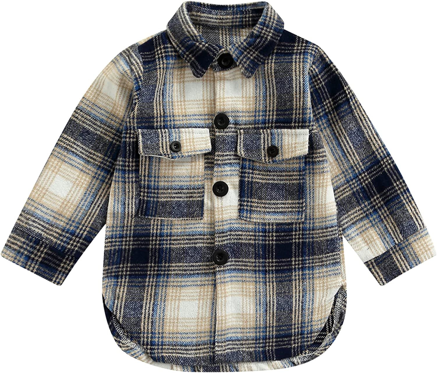 Cudilica Toddler Baby Boys Free shipping Fort Worth Mall anywhere in the nation Girls Long Button Plaid Sleeve Shirts