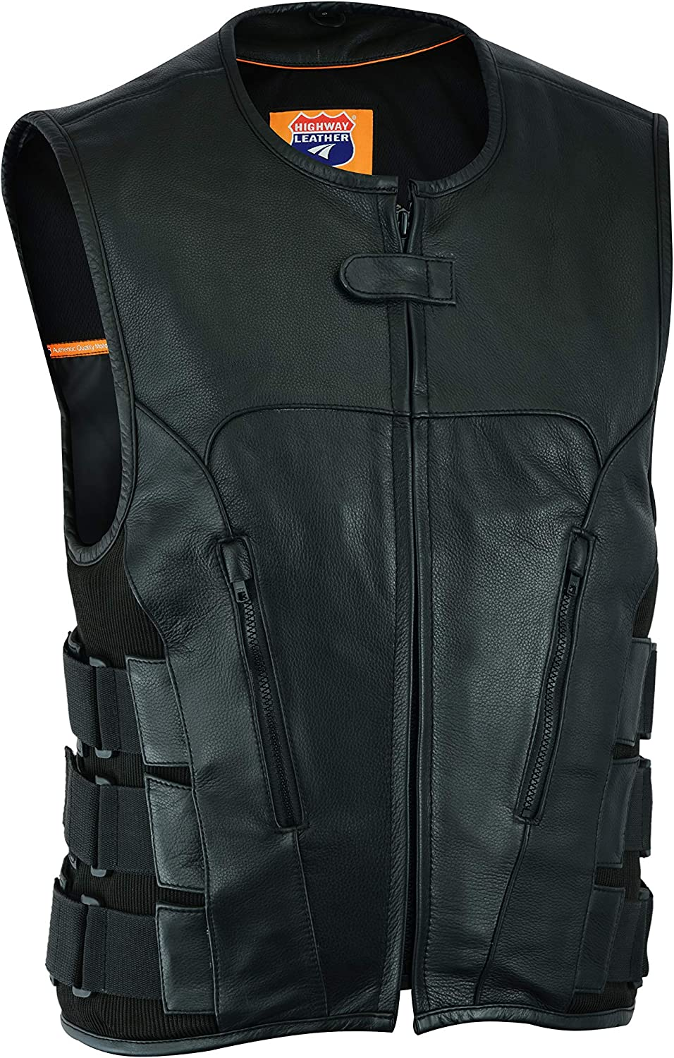 Highway Leather Men Motorcycle Black Swat Style Leather Vest