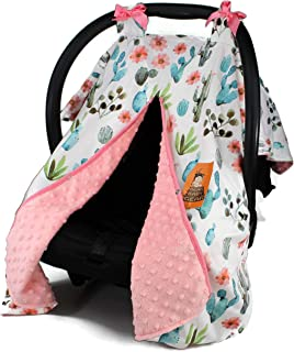 Dear Baby Gear Baby Car Seat Canopy Cover, Watercolor Cactus Floral, Coral Minky