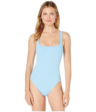 Polo Ralph Lauren Ribbed Modern Martinique Tank One-Piece Swimsuit (Blue Crush) Women