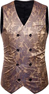 Mens Hipster V Neck Slim Fit Double Breasted Paisley Dress Vest for Suit or Tuxedo