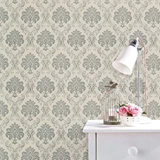 Removable Wallpaper Peel and Stick Self Adhesive Shelf Liner Damask Contact Paper Decorative Floral Roll 17.7x118 Inch