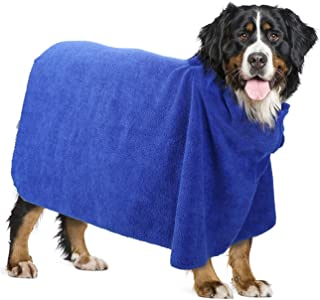 PAWABOO Dog Bathrobe, Quick Drying Dog Towel Dogs and Cats Microfiber Towel Super Obsorbent Pets Bath Towel for Mositure Absorbing, Blue