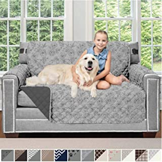 Sofa Shield Original Patent Pending Reversible Loveseat Protector for Seat Width up to 54 Inch, Furniture Slipcover, 2 Inch Strap, Slip Cover Throw for Pets, Love Seat, Vintage Floral Lt Gray Charcoal