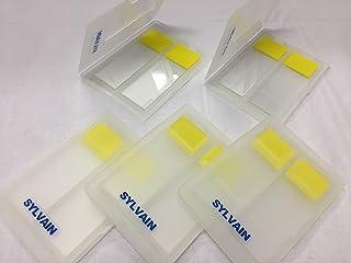 【シルバイン】2枚用 スライドメーラー スライドガラスケース 5個セット スライドガラス付き SYL-25Y (イエロー)