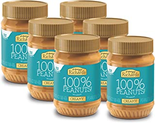 Crazy Richard's Creamy Peanut Butter, 100% Natural, Non-GMO, Gluten-Free, 16 Ounce Jars (Pack of 6)