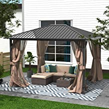 Cloud Mountain 10 x 12 Hardtop Gazebo Outdoor Metal Canopy Gazebo with Netting and Curtains for Patios All Season