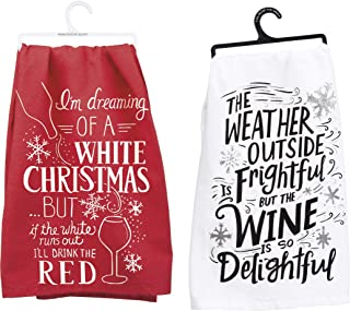 Primitives by Kathy 2 Piece White Christmas But I'll Drink The Red, Wine is So Delightful Bar Towel Bundle