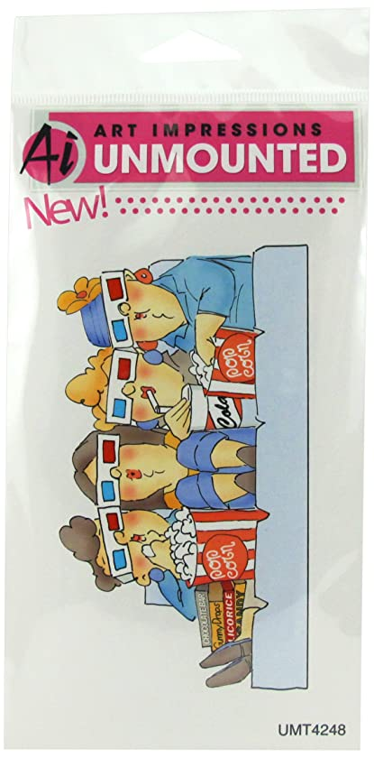 Art Impressions T4248 Girlfriends Series at The Movies Rubber Stamp