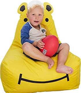 Rickety Rock Bean Bag Chair for Kids - Stuffed Animal Storage, Bean Bag Cover for Child Indoor Outdoor Waterproof Polyester, Hippo