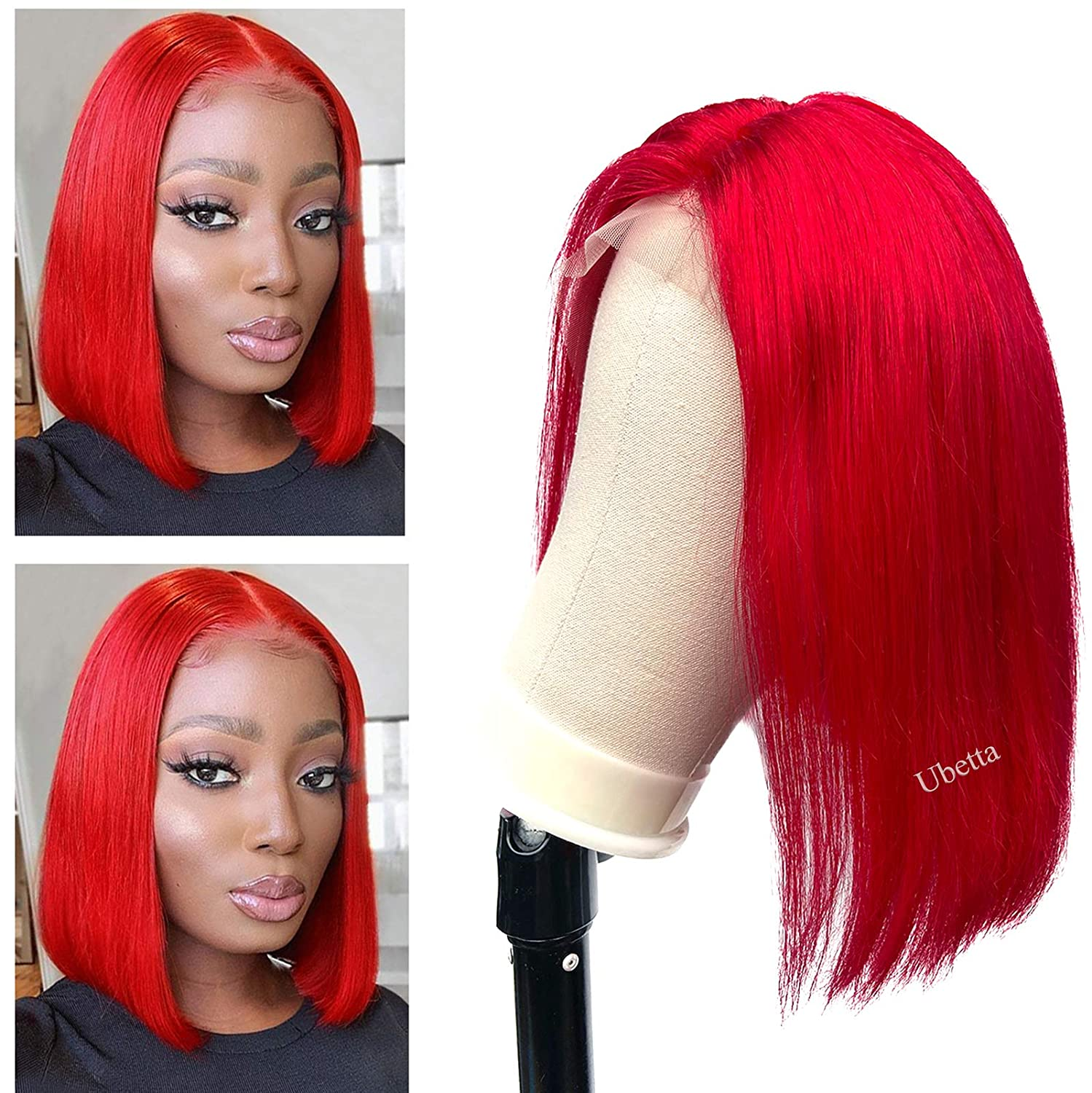 Human SALENEW very popular! Hair Short Bob Wigs for Women Black T Red Lace Front San Jose Mall