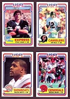 1984 Topps USFL Football Rookie Reprint (4) Card Lot w/ Original Back (Steve Young) (Jim Kelly) (Reggie White) (Herschel Walker) ( Los Angeles Express) (Houston Gamblers) (New Jersey Generals) (Memphis Showboats)