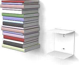 home3000 1 weißes unsichtbares Bücherregal mit 2 Fächern für Bücher bis zu 22 cm Tiefe.