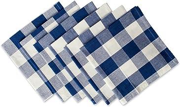 DII Buffalo Check Collection Classic Tabletop, Napkin Set, 20x20, Navy & Cream 6 Count