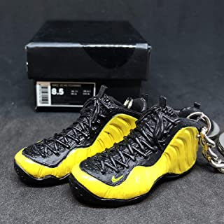 Pair Air Foamposite One Pro Wu Tang Yellow Electrolime Penny OG Sneakers Shoes 3D Keychain 1:6 Figure + Shoe Box