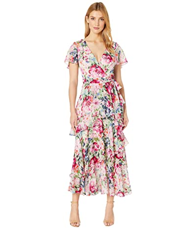 Tahari by ASL Midi Length Tiered Flutter Sleeve Dress in Water Color Print (Garden Party Pink) Women