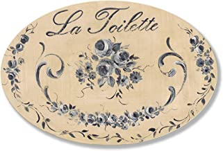 The Stupell Home Decor Collection La Toilette Black Roses Oval Bathroom Wall Plaque