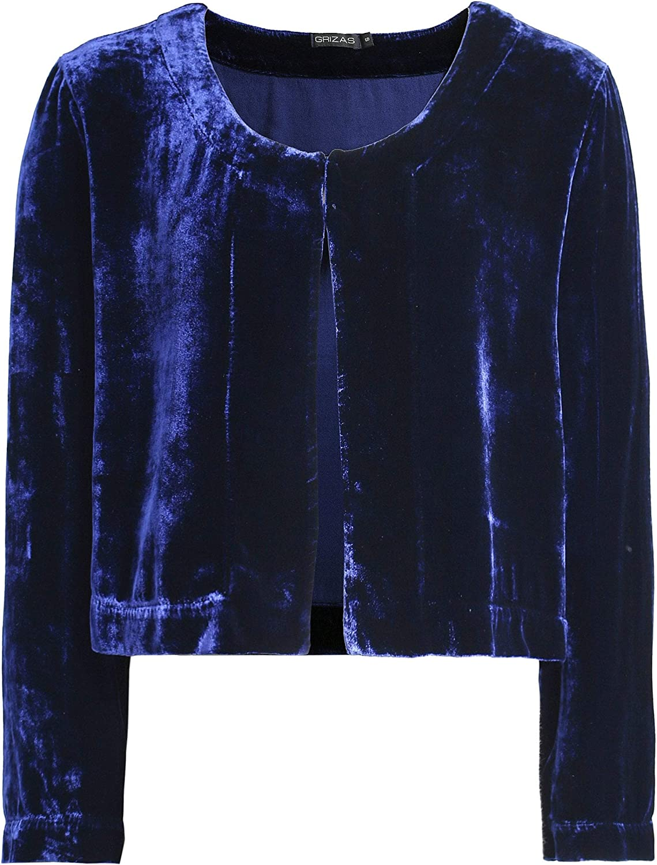 Grizas Women's Velvet Cropped Jacket bluee