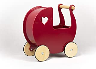 Baby Doll Wooden Pram in Red