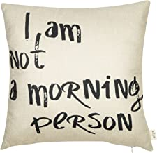Fjfz I Am Not a Morning Person Funny Décor Cotton Linen Home Decorative Throw Pillow Case Cushion Cover with Words for Sofa Couch, Black, 18