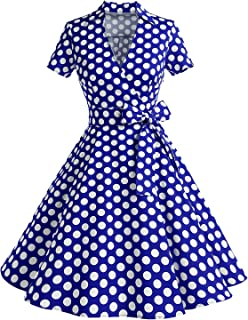 Timormode Mujer A-Línea Manga Corta Retro 1950s Vintage Prom Vestidos