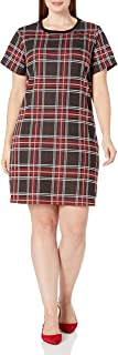 City Chic Women's Apparel Women's Plus Size Patterned t-Shirt Style Dress, red Tartan