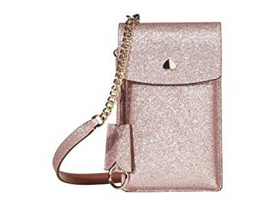 Kate Spade New York Glitter NS Flap Phone Crossbody (Rose Gold) Cross Body Handbags