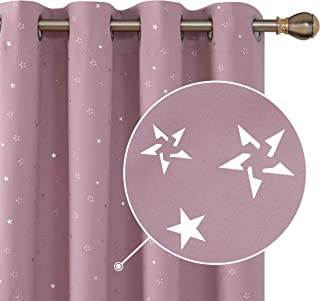Deconovo Star Print Room Darkening Curtain Panels Thermal Insulated Window Treatment Set for Living Room 52W x 84L Inch Lavender Pink 2 Panels