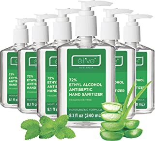 Élive Hand Sanitizer Gel 72% Ethyl Alcohol (6 x 8.1floz Pack) Alcohol Base Natural Sanitizers Without Soap Big Bottle Hand Gel Pump Pack 240mL
