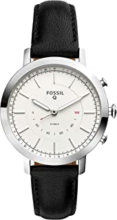 Fossil Q Women's Neely Stainless Steel and Leather Hybrid Smartwatch, Color: Silver-Tone, Black (Model: FTW5008)