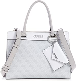 Guess Sosie Status Satchel Bag For Women, Silver
