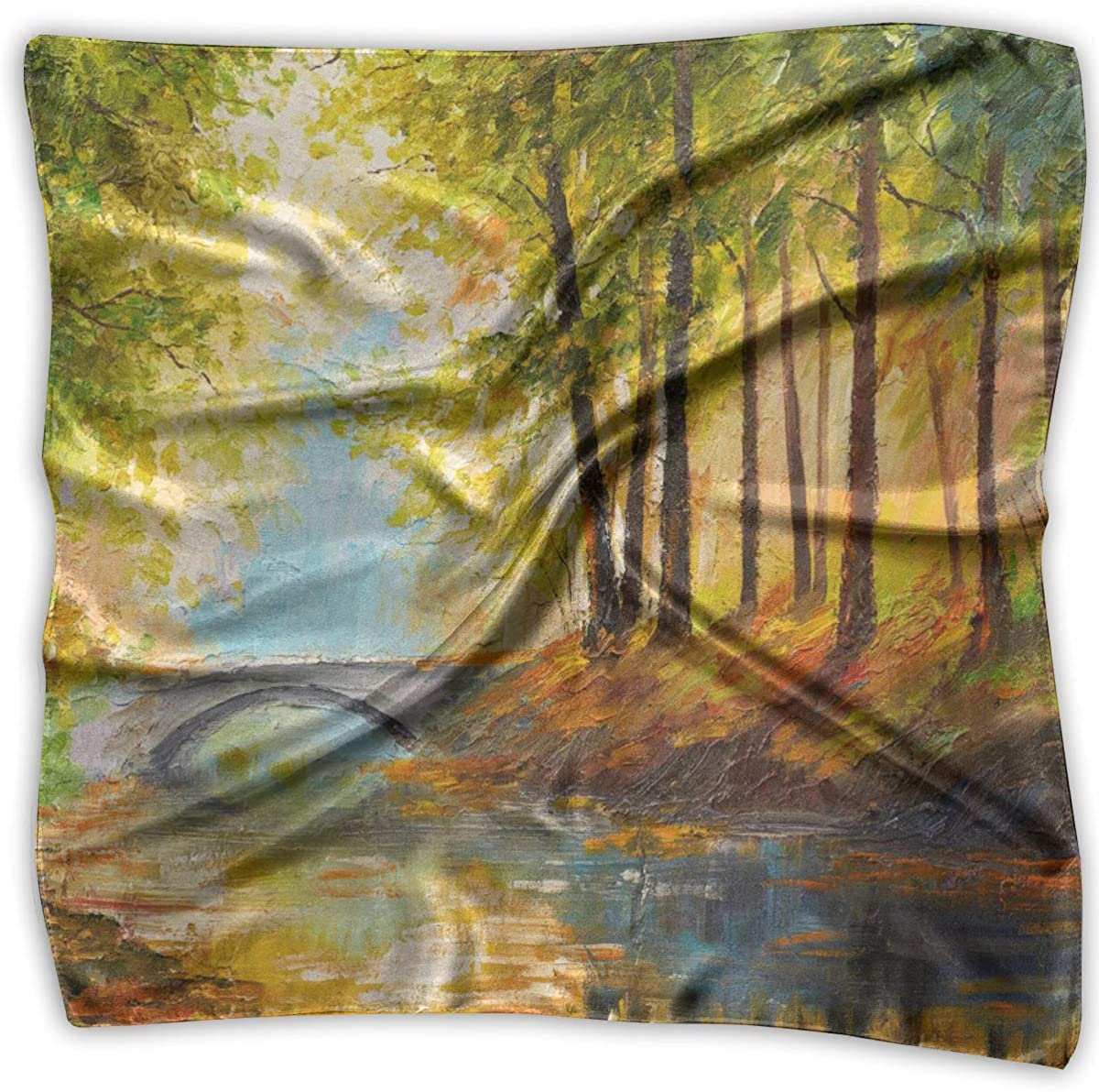 Scarf Autumn Forest Near The New product!! Phoenix Mall Painting Ladies River Orange Leaves