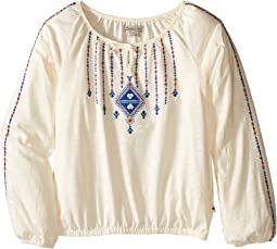 Long Sleeve Peasant Top with Lurex and Embroidery (Big Kids)