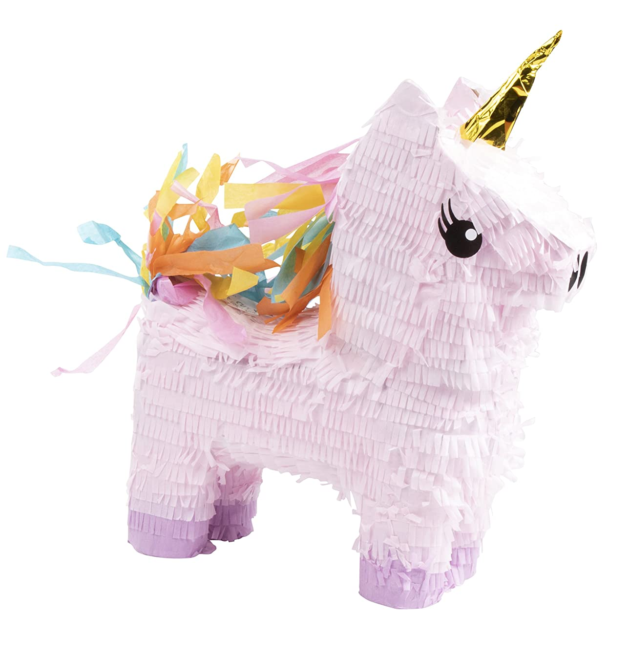 Unicorn Pinata - Kids Birthday Party Supplies for Unicorn Themed Party, Pink and Purple with Gold Foil Horn, 13.4 x 15.5 x 4.6 Inches
