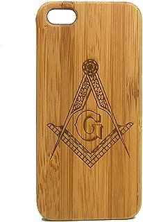 Freemasons iPhone 8 Plus Case/Cover by iMakeTheCase | Freemasonry Masonic Square & Compasses Symbol | Bamboo Wood Cover Fraternal Fraternity