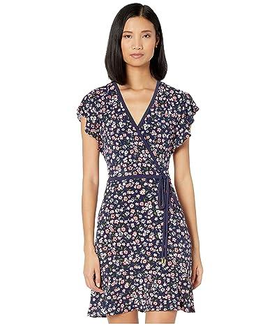 MICHAEL Michael Kors Garden Patch Print Faux Wrap Dress (Coral Peach) Women