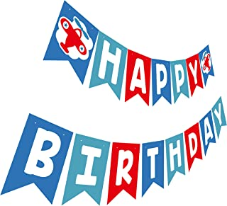 Airplane Birthday Banner, Little Pilot Happy Birthday Party Sign, Aircraft Bday Bunting Decoration