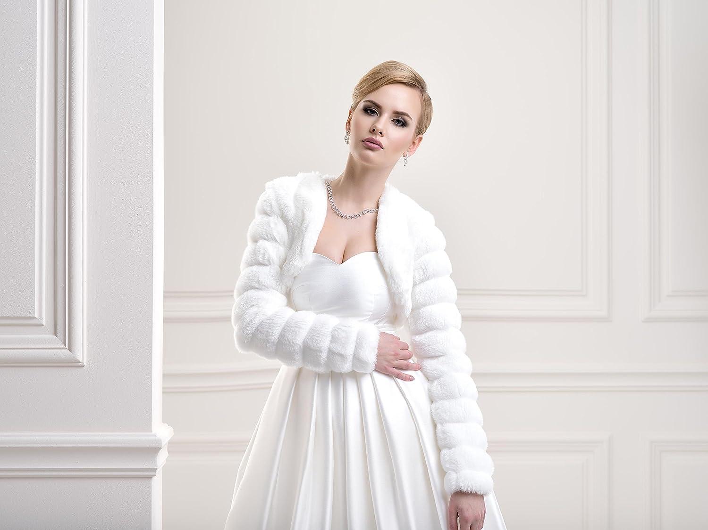 Lacey Bell Damen Brautjacke-Bolero Braut Jacke Pelzimitat Kunstlichem Pelz Fell-Nerzimitat FFJ-14 Weiß